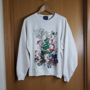 Vintage 90s Christmas Kittens Cats Sweatshirt L
